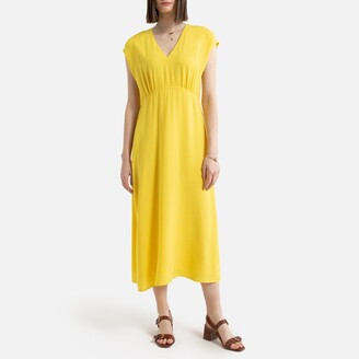 La Redoute Collections Sleeveless Flared Midaxi Dress with V-Neck