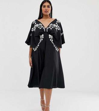 Asos DESIGN Curve EXCLUSIVE kimono sleeve midi dress with mono embroidery