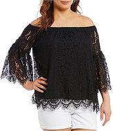 Jessica Simpson Plus Delani Off-the-Shoulder Lace Top