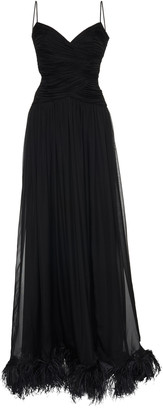 Rasario Exclusive Feather-Embellished Silk-Chiffon Gown