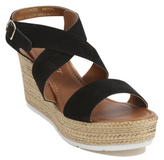 George Suede Cross Front Wedge Sandals