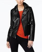 GUESS Asymmetrical-Zip Faux-Leather Moto Jacket