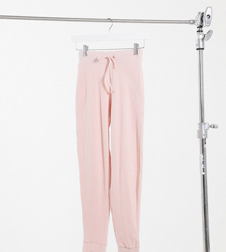 Miss Selfridge Petite brushed trackies in nude