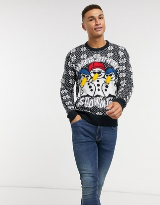 Brave Soul hanging snowman Christmas sweater