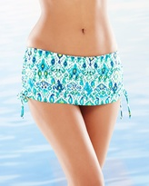 Soma Intimates Ikat Adjustable Skirted Swim Bottom Blue