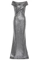 Quiz Grey Sequin Cross Front Bardot Maxi Dress