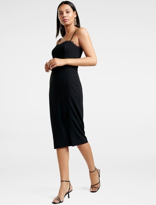 Forever New Ellyse Lace-Trim Pencil Dress - Black - 4