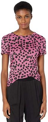 Michael Stars Shine Basic Band Crew T-Shirt in Leopard Print (Majesty) Women's Clothing