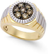 Macy's Men's Two-Tone Diamond Ring (1 ct. t.w.) in 10k Gold and Rhodium-Plate