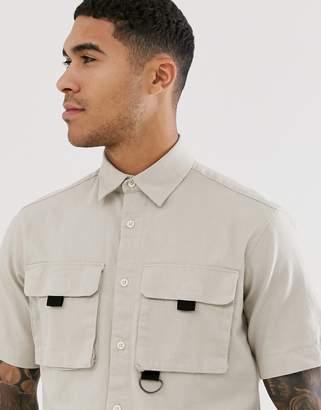 Jack and Jones Core utility pocket short sleeve shirt in stone