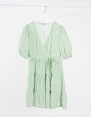 Stradivarius mini dress with puff sleeves in green floral print