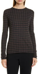 Vince Check Plaid Long Sleeve Knit Top