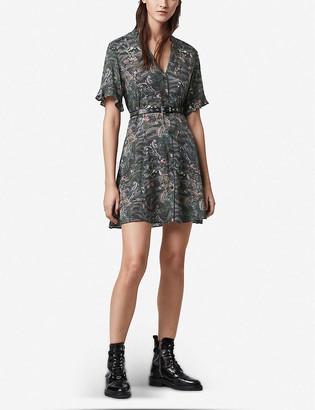 AllSaints Fay Paradeep V-neck crepe mini dress