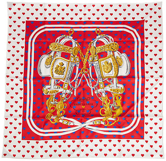 One Kings Lane Vintage Hermes Red Brides de Gala Love Scarf - Vintage Lux