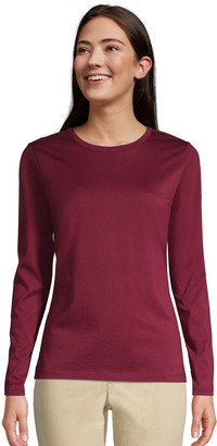 Lands' End Petite Relaxed-Fit Supima Cotton Long Sleeve Crewneck Tee