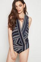 BCBGeneration Geo-Stripe Sleeveless Bodysuit