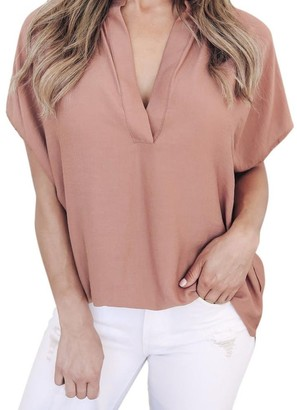 Mingfa.Y Women Blouse Women Ladies Blouse 2018 Casual Tops Mingfa Summer V Neck Chiffon Short Sleeve Shirt (Pink XL)