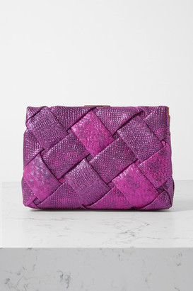 Nancy Gonzalez Woven Metallic Watersnake Clutch - Fuchsia