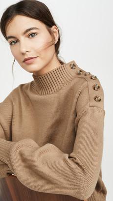 ADEAM Mock Neck Button Sweater
