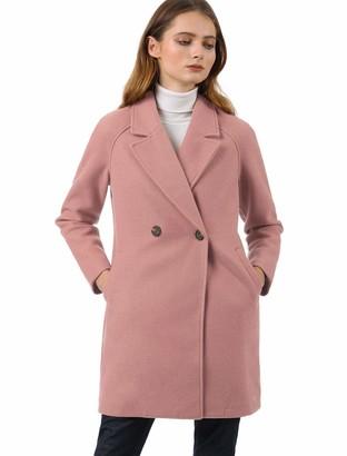 Allegra K Women's Notched Lapel Double Breasted Raglan Winter Coats Blue 16