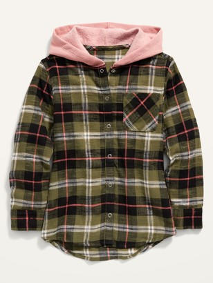 Old Navy Plaid Flannel 2-in-1 Shirt Hoodie for Girls
