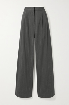 Tibi Isselin Stella Pleated Pinstriped Linen-blend Wide-leg Pants - Anthracite