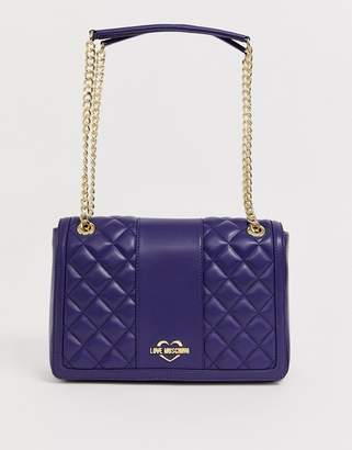 Love Moschino quilted Faux leather chain strap shoulder bag-Navy