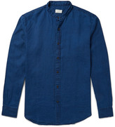 Club Monaco Slim-fit Grandad Collar Slub Linen Shirt - Indigo