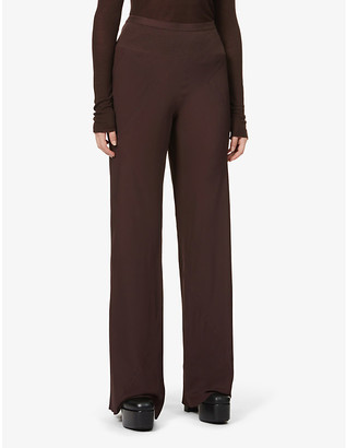 Rick Owens Ribbed wide-leg high-rise crepe-silk trousers