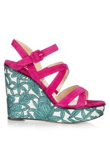 Paul Andrew Lotus suede wedge sandals