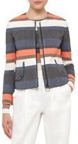 Akris Punto Striped Zip-Front Short Jacket, Orange Pattern