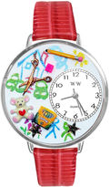 Whimsical Watches Personalized Preschool Teacher Womens Silver-Tone Bezel Red Leather Strap Watch