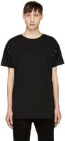 Balmain Black Lace-Up T-Shirt