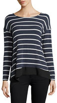 Design Lab Lord & Taylor Striped Combo Sharkbite Top