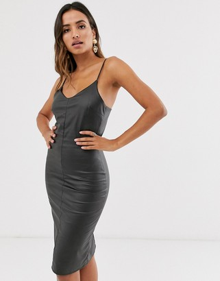 UNIQUE21 PU bodycon cami midi dress
