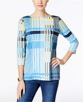 Charter Club Petite Plaid Boat-Neck Top, Created for Macy's