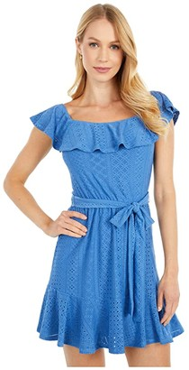 BCBGeneration Day Short Sleeve Woven Dress - TTC6302312 (Riviera) Women's Dress