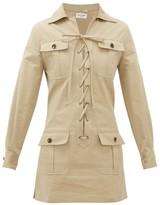 Saint Laurent Safari Cotton-gabardine Mini Dress - Womens - Beige