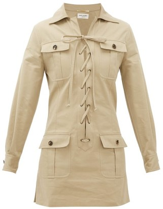 Saint Laurent Safari Cotton-gabardine Mini Dress - Beige