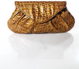 Lauren Merkin Brown Embossed Ruched Clutch Handbag In Dust Bag