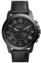 Fossil 'Grant' Chronograph Leather Strap Watch, 45Mm