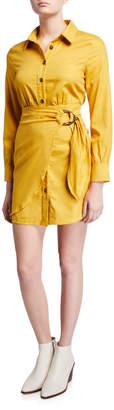 Moon River Faux-Wrap Button-Down Shirtdress