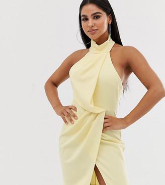 Asos DESIGN Petite halter drape pencil midi dress-Yellow