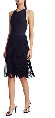 Herve Leger Fringe Skirt Cross-Back Cocktail Dress
