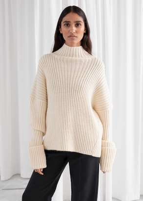 And other stories Slouchy Wool Blend Ribbed Turtleneck