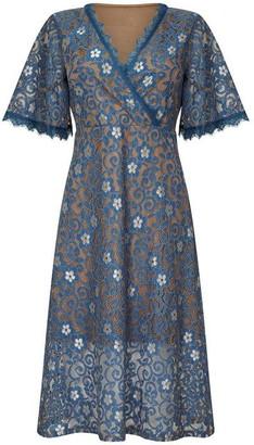 Yumi Floral Lace Print Wrap Dress