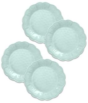 """TarHong Saville Scallop Glacier Blue Dinner Plate, 10.9"""", Melamine, Set of 6"""
