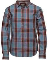 Original Penguin Junior Boys Boys Madras Long Sleeve Shirt Blue Depths