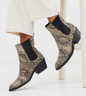 Monki faux leather heeled boots with pointed toe in snake print
