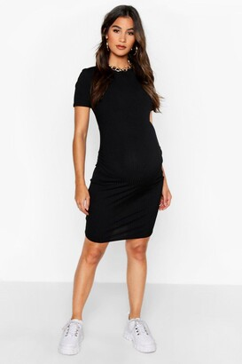 boohoo Maternity Basic Rib Bodycon Dress